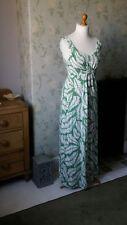 Boden maxi dress 12 long green fern print womens summer clothing sleeveless uk