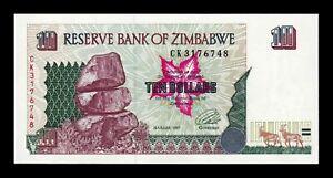 B-D-M Zimbabwe 10 Dollars 1997 Pick 6 SC UNC