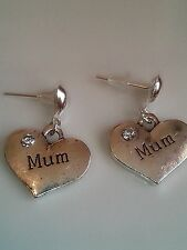 Mum stud earrings silver in colour family and friends