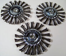 """3pc 4-1/2 """" Spiral Twisted Knotted Wire Wheel 5/8"""" x 11TPI Arbor HUB Carbon new"""