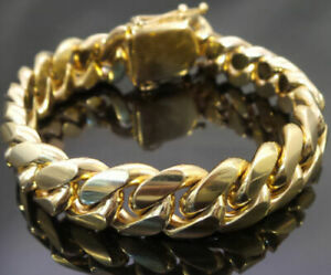Mens 14mm 14k Gold Plated Miami Cuban Link Bracelet 8.5'' Solid Stainless Steel