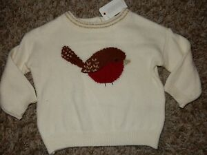 2018 NWT 3-6M GyMbOrEe Girls Bird Robin Holiday Sweater Dress Shirt