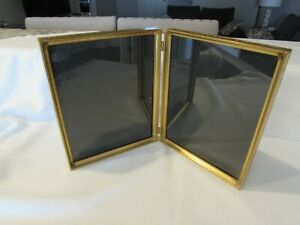"Vintage Solid Brass Double Bi-fold Picture Frame (2) 8"" X 10"" Floral Design"