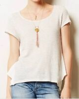 Meadow Rue Anthropologie Size M Medium Sideswing Top Ruffle Layers Striped