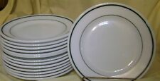 "9"" Corning Glass Restaurant Ware Niagara Pattern Double Dark Green Bands Plates"