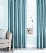 RING TOP ICE TEAL FAUX SILK FULLY LINED  CURTAINS + TIEBACKS  90x90 INCHES