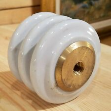 3-Tier Ceramic / Porcelain Standoff Insulator w/ Brass Threaded Ends - Swanky Ba
