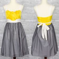Burlapp Silk Floral Dress Yellow Bridesmaid Size Small FLAW Fit and Flare Gray