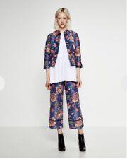Zara RRP£39.99 Floral Print Jacket Blazer Cropped Trousers Kimono Pajamas Style