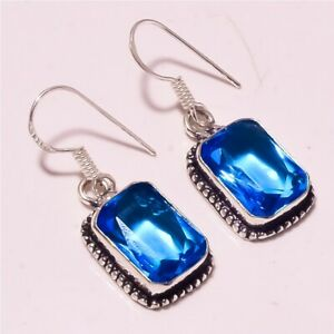 """London Blue Topaz Faceted Gift Purpose Fashion Jewelry Earring S-1.50"""" MXE-1447"""