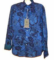 Ganesh Men's Blue Floral Cotton Soft Embroidery Design Shirt Size 2XL $198