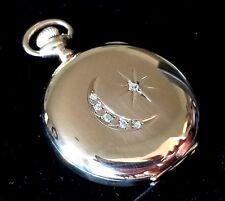 Lady Waltham Solid 14k Gold & Diamond Pocket Watch, 6s, 16j SW/S GJS HC, Ca.1899