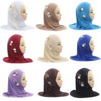 Girls Kids Hijab Islamic Scarf Shawls Beautiful Flowers Muslim Hat lskn