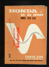 Honda S50 S65 Sport (1965-1969) OHC CS 65 Genuine Parts List Catalogue Book BX40