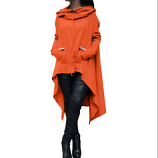 Size 6-22 Women Batwing Hooded Poncho Coat Lady Parka Hoodie Pullover Shawl Cape