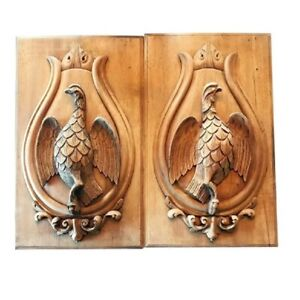 ANTIQUE CARVED WOOD PANELS SPORTING THEME, GAME BIRDS
