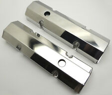 SBC TALL FABRICATED FLAT TOP VALVE COVERS - w/ HOLES # WPM-6145-P