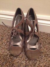 Topshop Light Gold Beige Suede & Leather High Heels Size 37 4