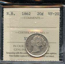 1862 New Brunswick Twenty Cents - ICCS VF-20