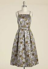 Lace & Mesh Plus Size 2X Silver Floral Retro Vintage Fit Flare Sleeveless Dress