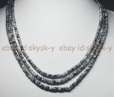 Gray Labradorite Beads Necklace 18-20'' Natural 3 Rows 2X4mm Faceted Black