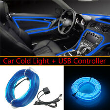 3M USB Blue LED Light Glow EL Wire String Strip Rope Tube Car Interior Decor 5V