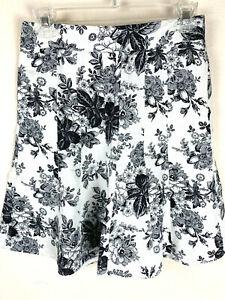 LOFT Ann Taylor Women Linen Short Skirt Sz 0P Black On White Floral Flared Lined