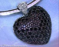 Attraktiver Herz Anhänger mit schwarzen Diamanten, 4.18 ct. Weißgold 585