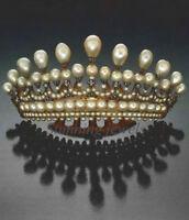 Victorian 11.80ct Rose Cut Diamond Sterling Silver Beautiful Pearl Women Tiara