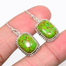 """Copper Green Turquoise 925 Sterling Silver Jewelry Earring 1.18"""" JE450-2"""