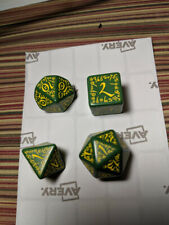Q-Workshop Elvish Dice D20 D% D6 D8 green w yellow prototype? test? dice
