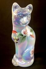 Fenton Art Glass Hand Painted Magnolia Blush On French Opalescent Carnival Cat