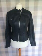 Ladies NEXT Biker Style REAL LEATHER Jacket Black Size 12
