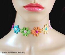 Varios Colores Margarita Gargantilla Collar kuchi Boho Festival Pastel Goth hecho a mano Reino Unido