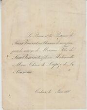 1886 Faire-part mariage Félix de SAINT-VINCENT / VIDAL de LAPIZE de LA PANNONIE.