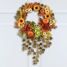 Lighted Autumn Sunflower Wreath with Hanging Ivy Thanksgiving Wall Door wreath