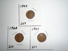 LINCOLN CENT 1927 1928 1929 CIRCULATED ( set #  L115  )