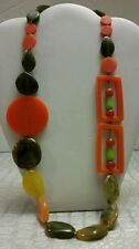 Gorgeous beaded designer resin orange and green necklace