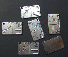 5pz charms ciondoli Postcard Cartolina I love you 16x25mm colore argento tibet
