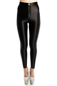 LADIES FASHION AMERICAN APPAREL STYLE HIGHWAISTED STRETCHY SHINY DISCO PANTS