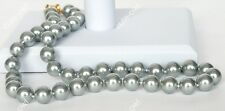 Sea Shell Pearl Necklace 18'' Aaa 10mm Silver Gray South