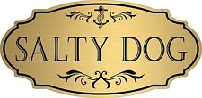 "Gold ""Salty Dog"" Door Sign Wall Plaque Nautical Boat Beach - Free Shipping"