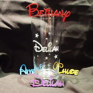 Children's Childs Personalised Engraved Disney Glass Birthday Gift