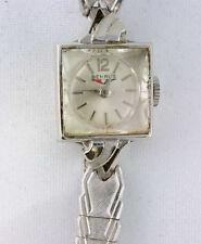 Ladies Vintage Benrus Wind Up 14k White Gold Case Watch