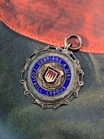 Antique Football League Sterling Silver 925 Enamel Albert Chains Watch Fob Medal
