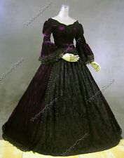Victorian Velvet Dress Ball Gown Witch Ghost Women Halloween Costume 153 XXL