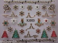 Navidad Adhesivos Pegatinas Para Uñas Oro Metálico Copos de nieve árboles xj3G