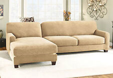 Sure Fit Stretch Pique Two Seat with LEFT Side Chaise Sectional Slipcover Cream