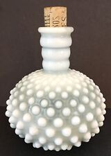 French Opalescent Hobnail Glass Bottle with Cork Made for Wrisley
