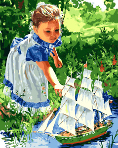 Paint By Numbers Kit Canvas 50*40cm 8065 Girl Play Wall Decor ART